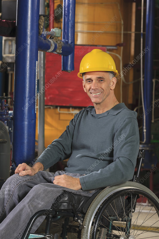 Power plant engineer in wheelchair
