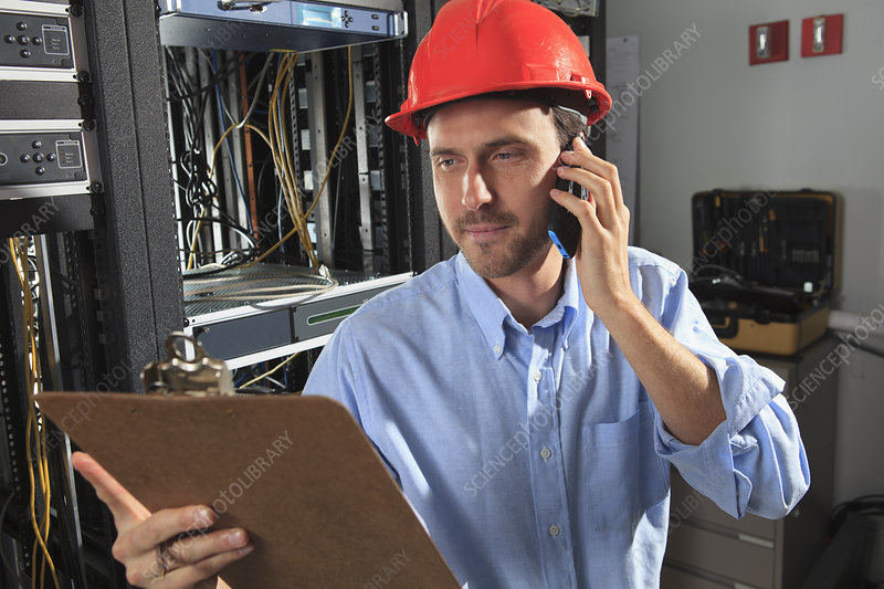 Network engineer on phone