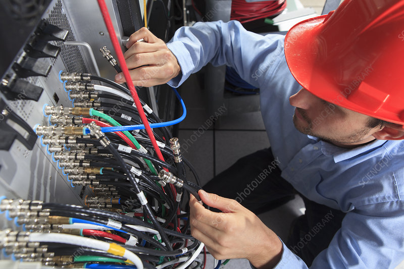 Network engineer at patch panel