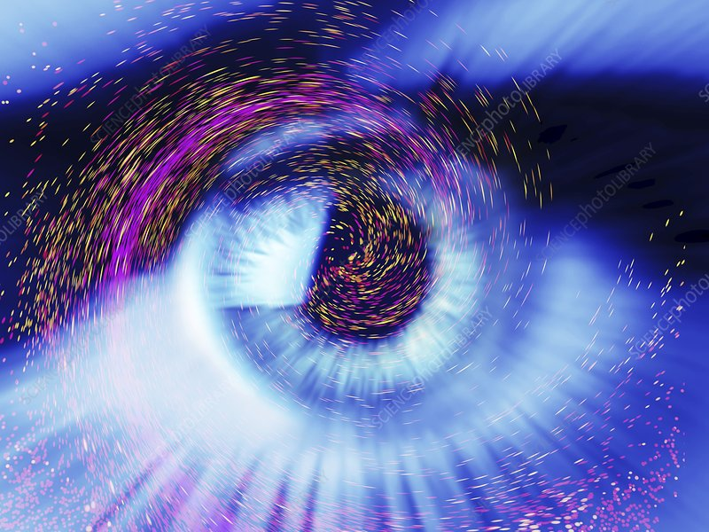 Eye and colourful particles