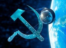 Sputnik and the Russian hammer and sickle