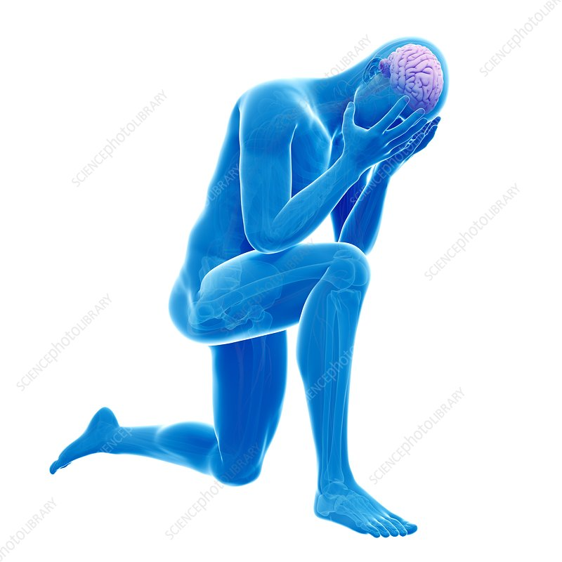 Person kneeling, Illustration