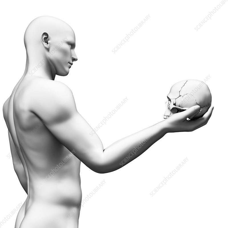 Person with human skull, Illustration
