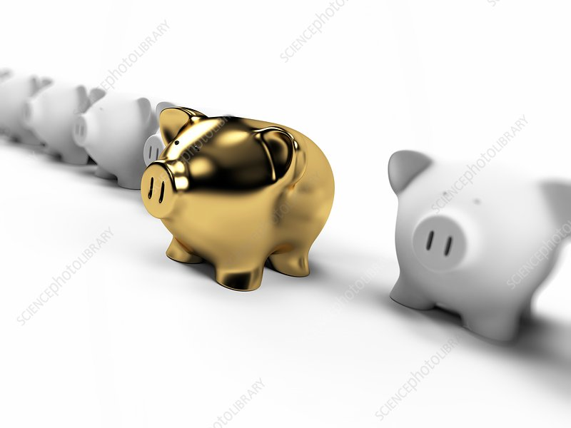 Gold and white piggy banks, Illustration