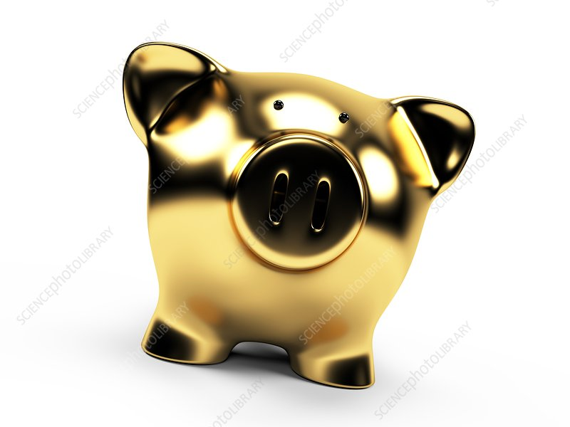 Gold piggy bank, Illustration