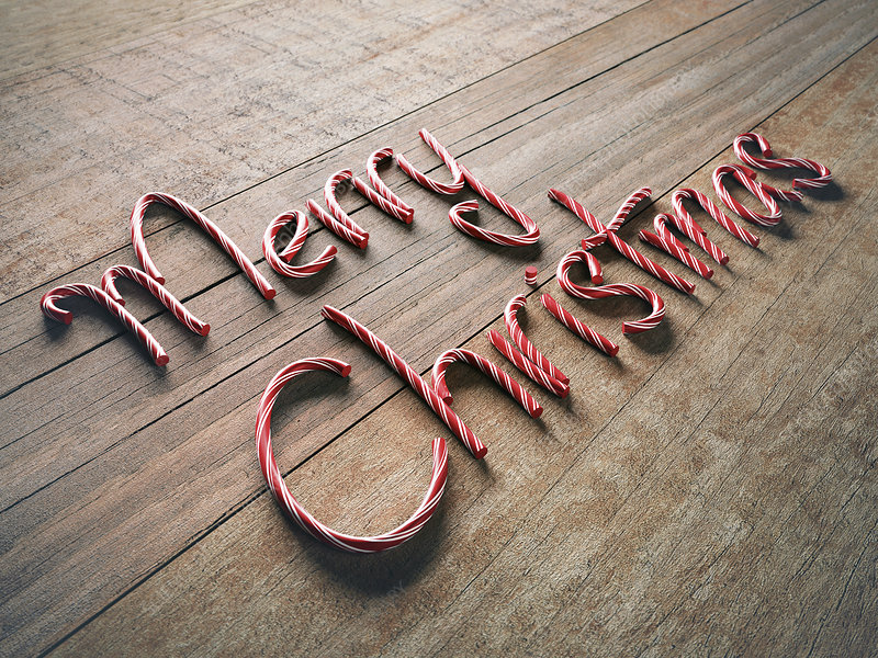 Merry christmas written with candy canes