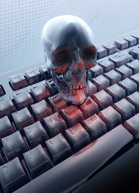 Skull on computer keyboard, Illustration