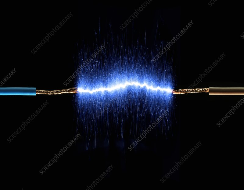 Wires connected by blue sparks