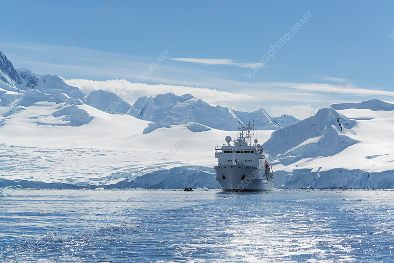 Polar research vessel in the Antarctic