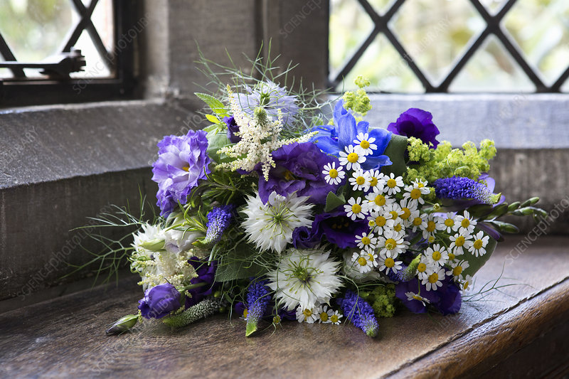 Bouquet of blue and white wedding flowers