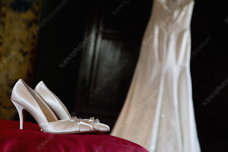 High heeled wedding shoes and a dress