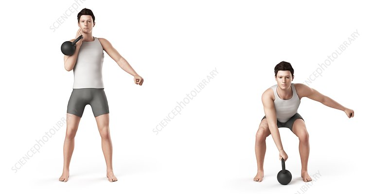 Man using kettlebell, illustration