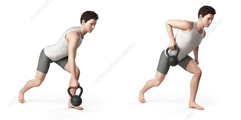 Person using kettlebell, illustration