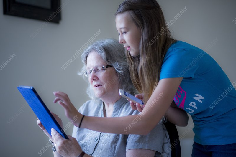 Girl and grandmother using tablet