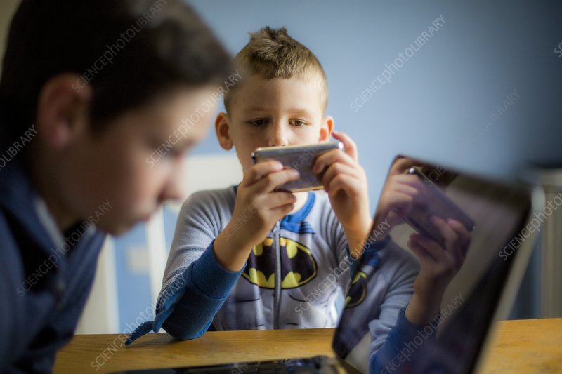 Boy using smartphone