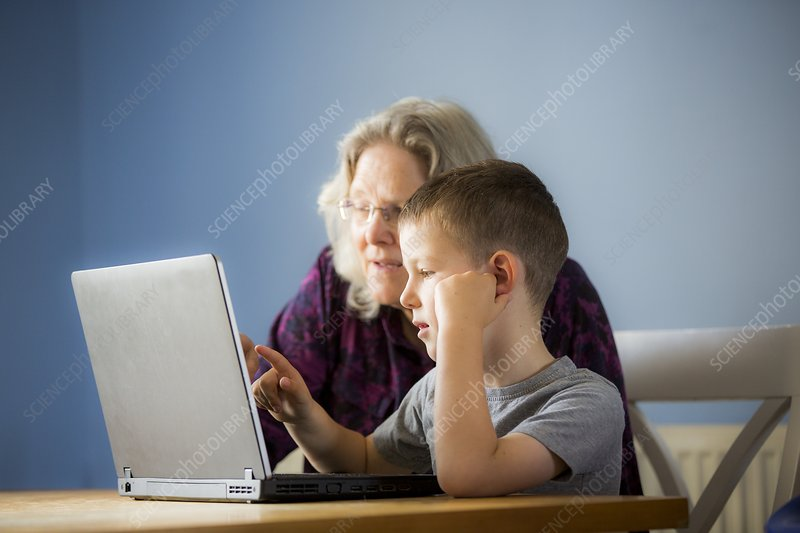 Boy using laptop with grandmother