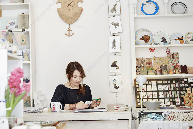 A woman managing a business