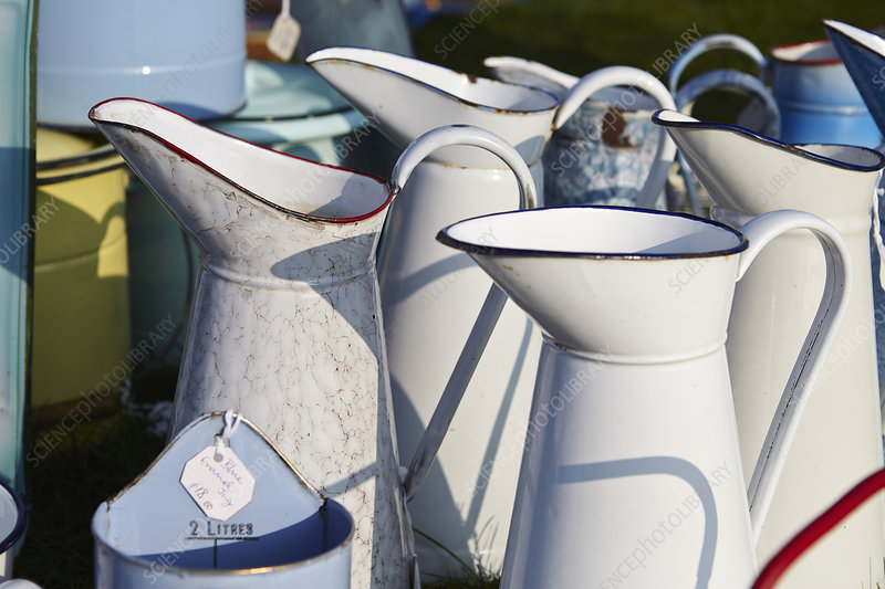 white vintage enamel jugs for sale