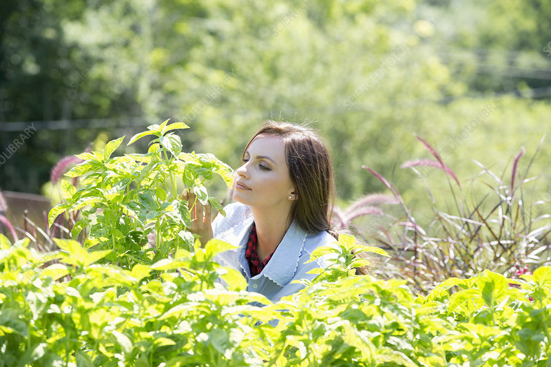 Woman outdoors surrounded by plants