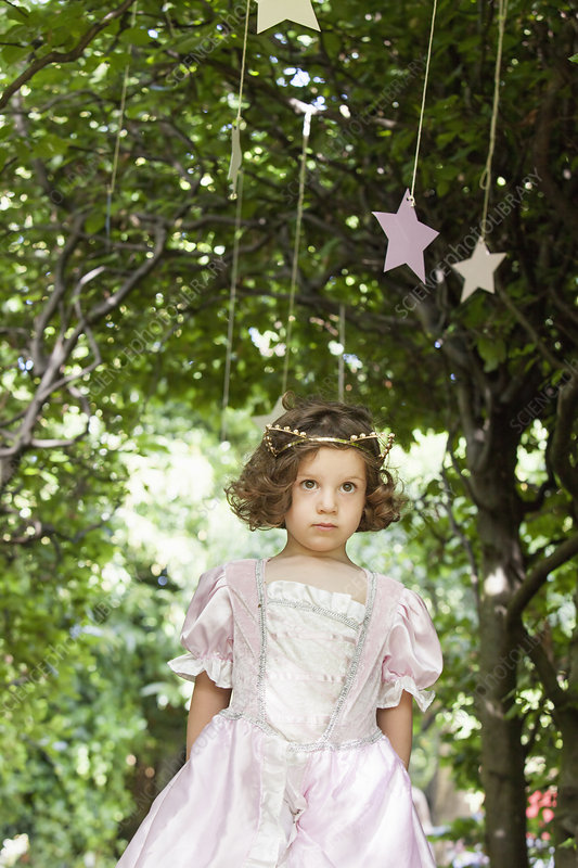 Young girl dressed as a fairy in a garden
