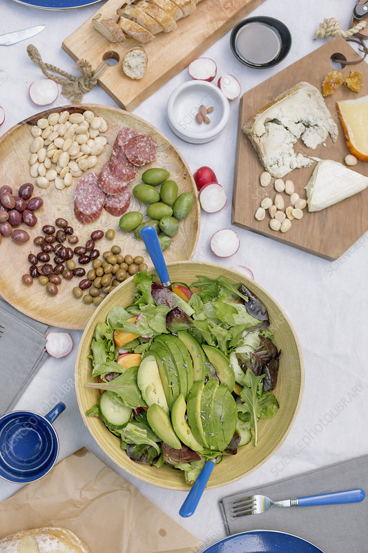 Cheese board, cheese, olives, nuts