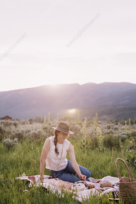Woman having a picnic on a meadow