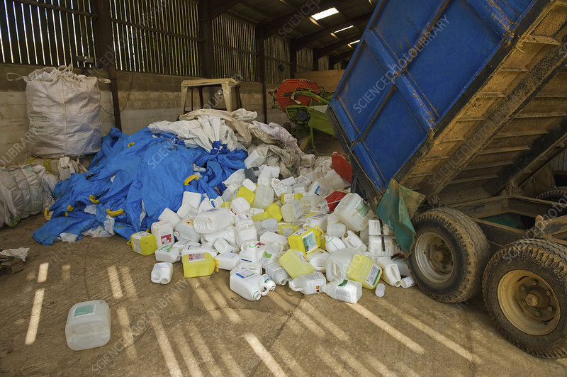 A heap of plastic recycling farm waste