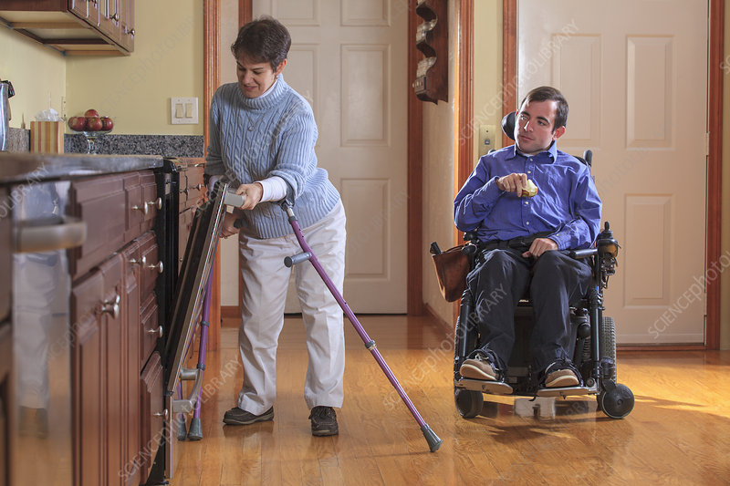 Disabled couple in the kitchen