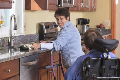 Disabled couple in their kitchen