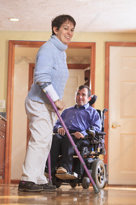 Disabled couple at home