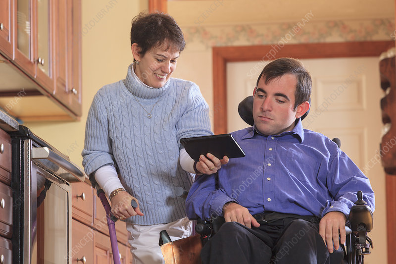 Disabled couple using tablet