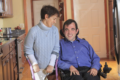 Disabled couple in accessible kitchen