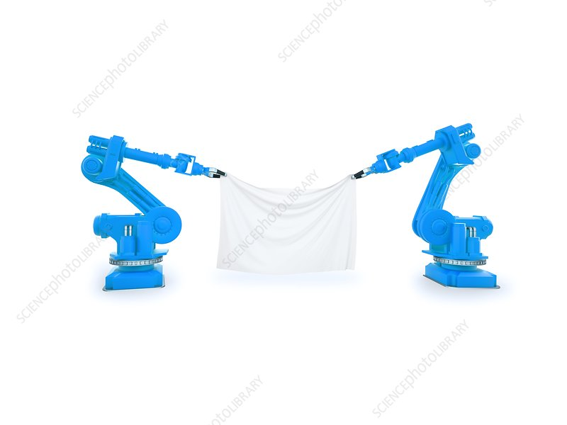 Industrial robots holding fabric