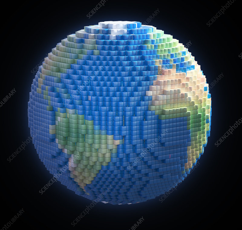 Globe made from voxels