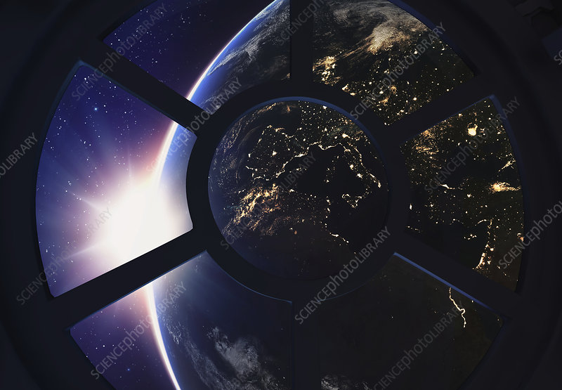 Round window with view of Earth