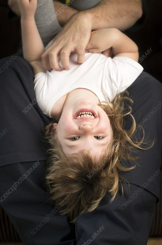 Girl being tickled, laughing