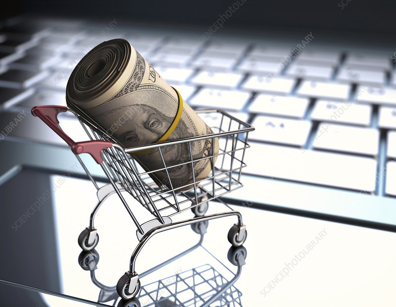 Shopping trolley with American dollars
