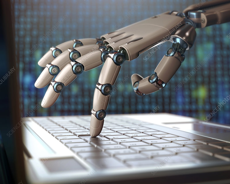 Robotic hand using a laptop computer - Stock Image - F012