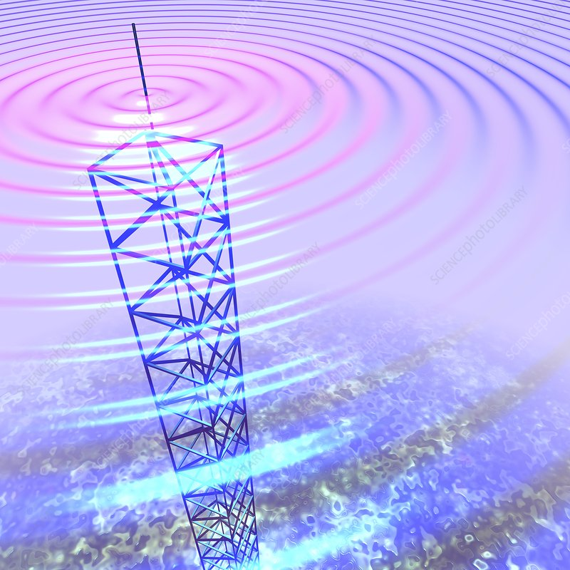 Radio waves and transmission tower