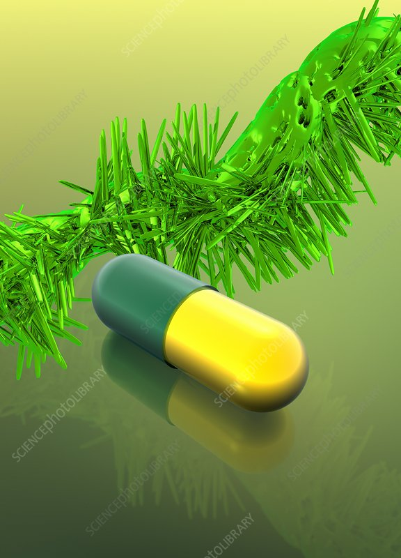 Yellow and green capsule