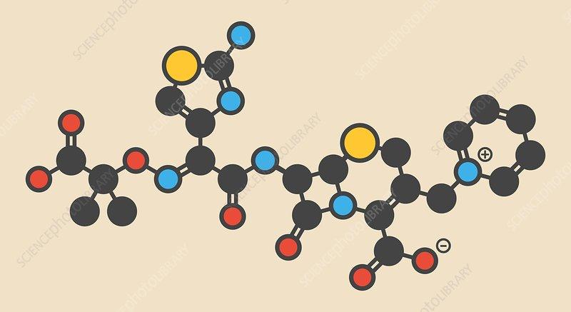 Ceftazidime antibiotic drug molecule