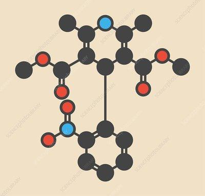 Nifedipine drug molecule