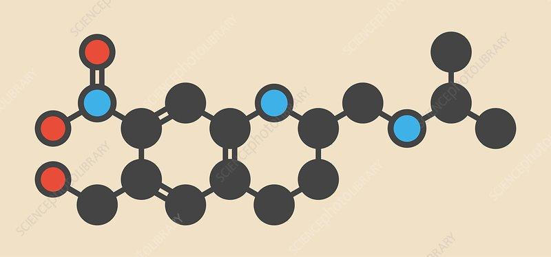 Oxamniquine anthelmintic drug molecule
