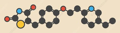 Pioglitazone diabetes drug molecule