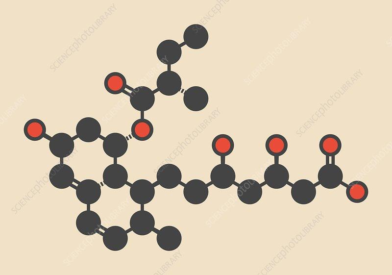 Pravastatin cholesterol drug molecule