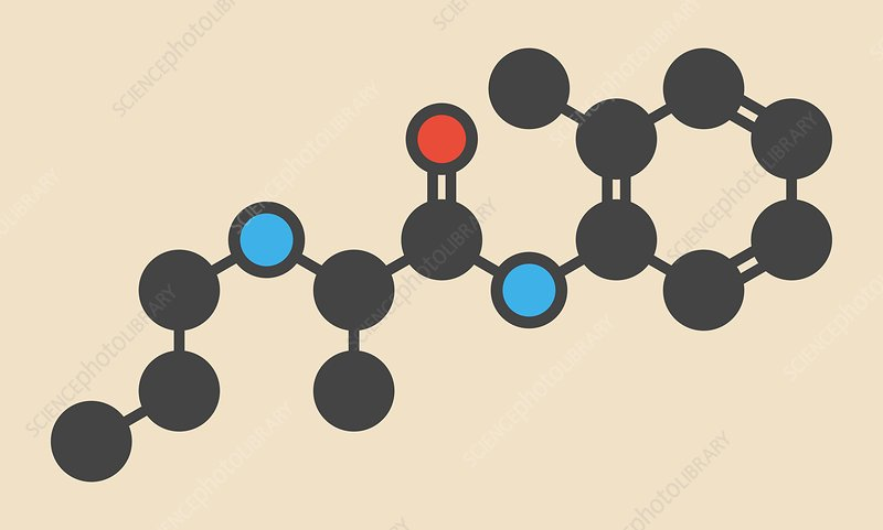 Prilocaine local anesthetic drug molecule