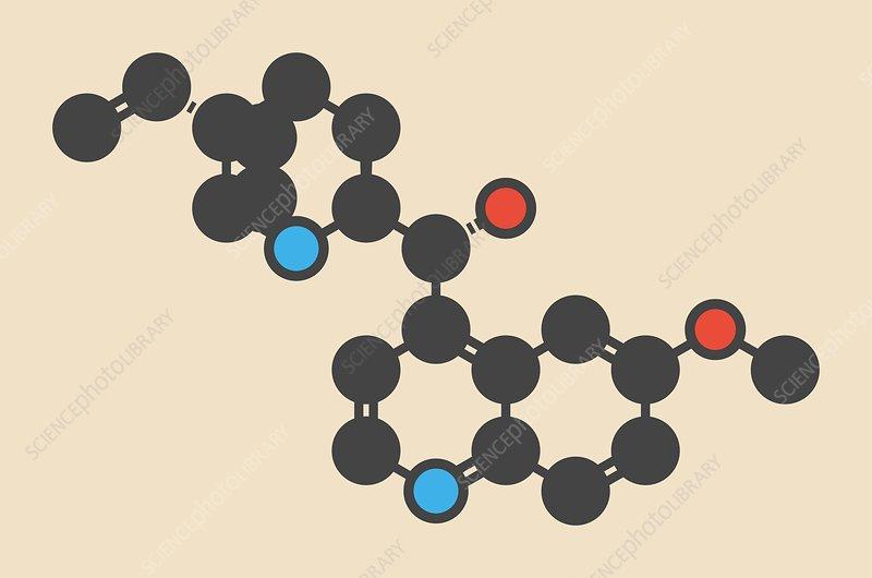 Quinine malaria drug molecule