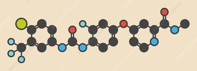 Regorafenib cancer drug molecule