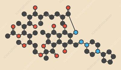 Rifapentine antibiotic drug molecule