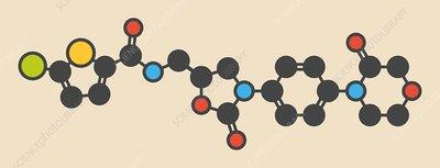 Rivaroxaban anticoagulant drug molecule
